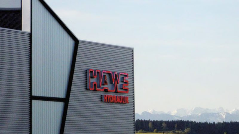 HAWE company building with logo